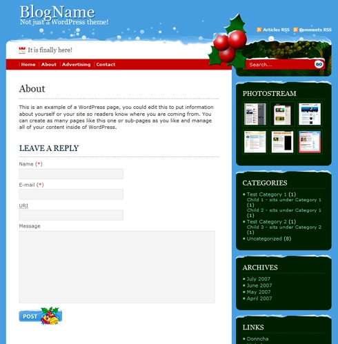 Free Christmas WP Theme